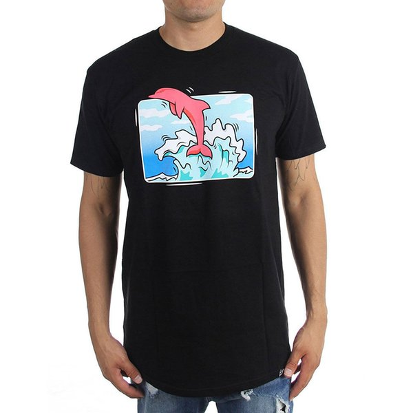 Pink Dolphin Men's Box Wave T Shirt Black Hip-Hop Tee Clothing Apparel Tops