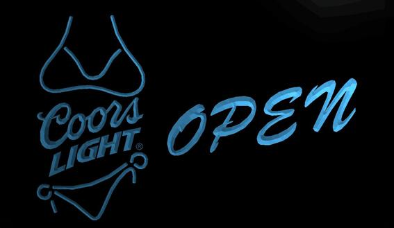 LS716-b- Coors Light Bikini Beer OPEN Bar 3D LED Neon Light Sign Customize on Demand 8 colors to choose
