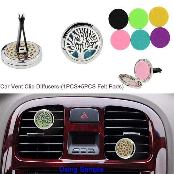 Aromatherapy Home Essential Oil Diffuser Car Perfume Clip Car Air Freshener Locket Clip with 5PCS Washable Felt Pads