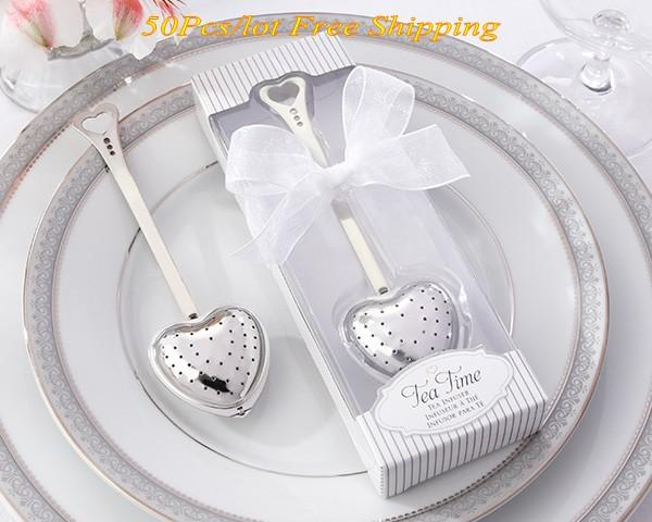 50Pcs/Lot Tea Time Love Heart Love Tea Infuser in Elegant White Gift Box for Wedding and Party Guest Favors Free shipping