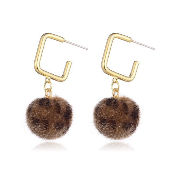 Hongye Gold Earrings Long Alloy Material with Leopard hair ball Indian Jewelry Vintage Drop Earrings for women Brincos 2018