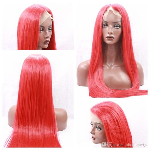 New Sexy Cosplay Red Color Long Silky Straight Party Wigs High Quality Heat Resistant Glueless Synthetic Lace Front Wigs for Black Women