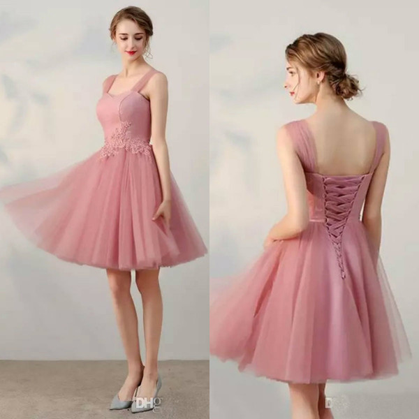 2019 Pink Short Prom Dresses Sheer Straps Lace Applique Beads Tulle Bridesmaid Dress Custom Made Homecoming Dresses Formal Party Gowns