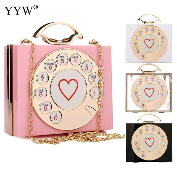 YYW Neue Elegante Marke Frauen Schulter Handtasche Mode Telefon Box Tasche Brief Acryl Herz Party Abend Rosa Box Clutch 2018