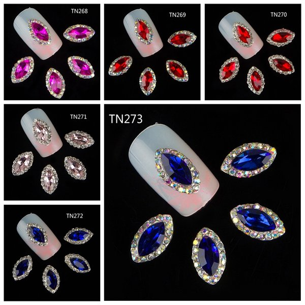 10 Pcs/Lot 4 Color Crystal Marquise Studs For Nails 3D Horse Eye Design Rhinestones Decorations Strass Nail Art Supplies TN270