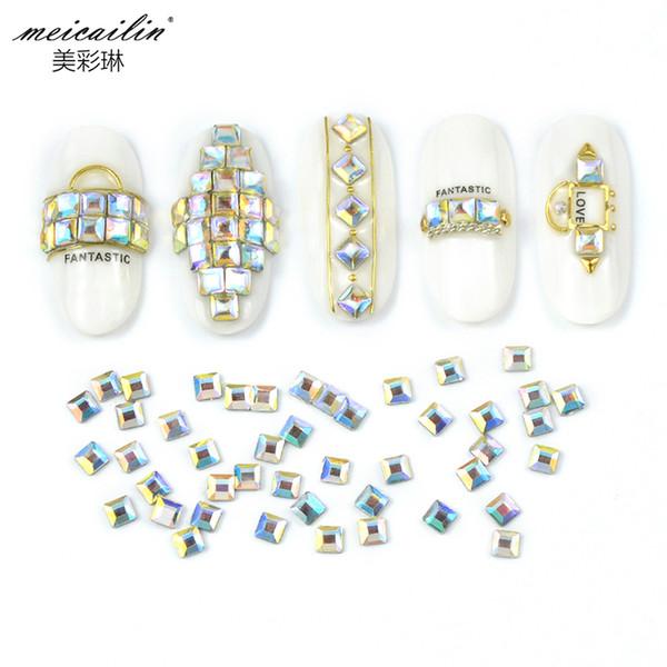 Hot Sale 20 Pieces/bag 4*4mm Glitter Flat Back Crystal AB Acrylic square Shape 3D Non HotFix Rhinestone Nail Art Diamond DIY