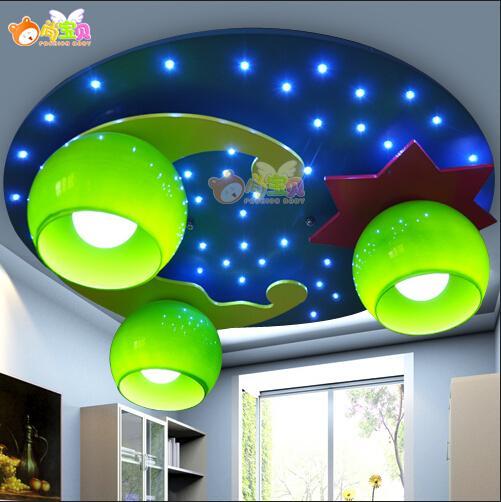 New Modern Cute Blue Moon Star MoonStar Twinkle Kid Niño Niños Lámpara de Luz de Techo Iluminación Dormitorio Habitación