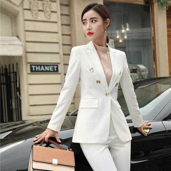 New 2019 Fashion Formal Women Blazers and Jackets White Coat Ladies Business Work Wear Female Clothes Styles