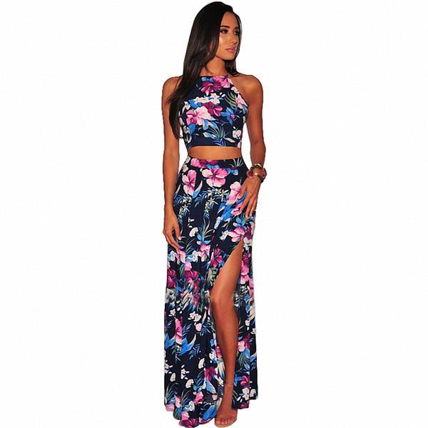 Estampado floral Sexy Set de dos piezas Mujeres Top sin mangas y faldas de Split alto Conjuntos de playa Summer Backless Maxi Dress Sets