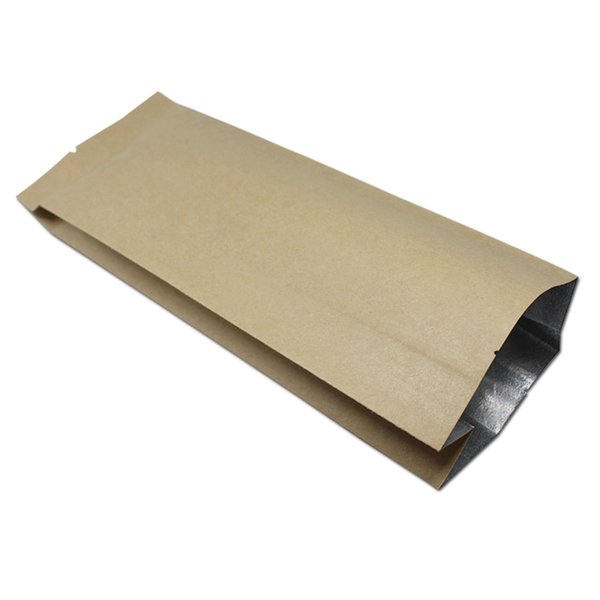 Brown Kraft Paper Aluminum Foil Tea Bag Open Top Side Gusset Heat Seal Food Packaging for Coffee Bean Nuts Dried Fruits 4 Sizes