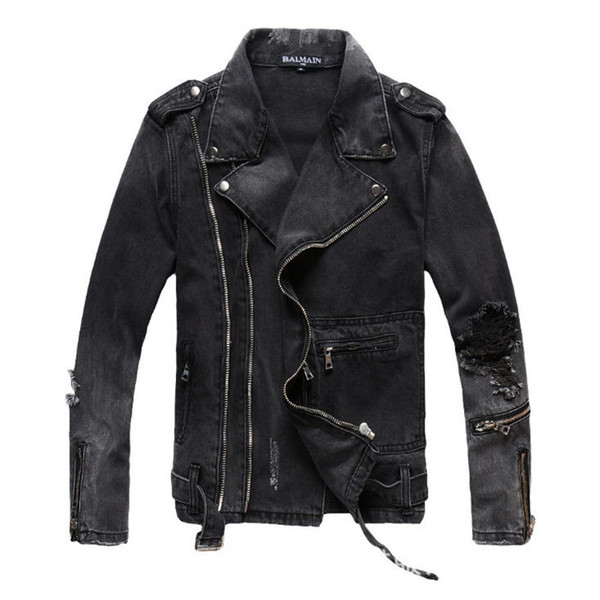 Men's Zipper Denim Jacket Fashion Ripped Motorcycle Biker Jackets Mens Plus Size 4XL Vintage Slim Distressed Jean Streetwear