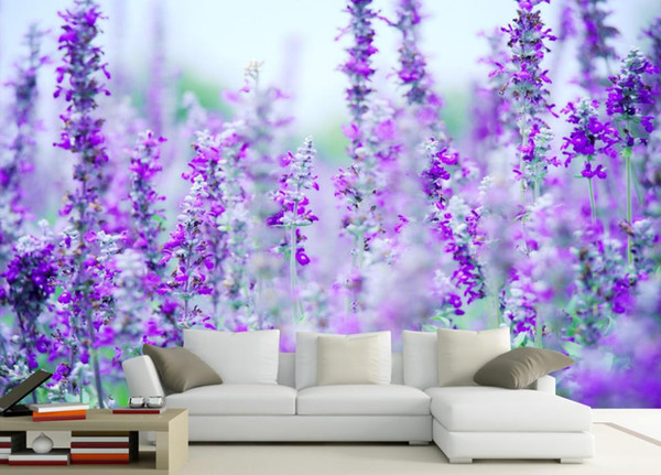 BENUTZERDEFINIERTE JEDE GRÖSSE Fototapete Lavender Flower Sea Modern Minimalist