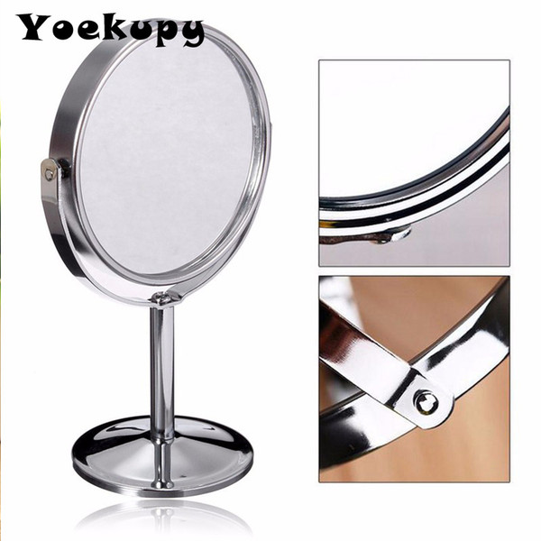 6 inch 2x Magnifying Mirror Double Sided Circle Make Up Mirror Metal Stainless Steel Small Round Desktop Table Cosmetic