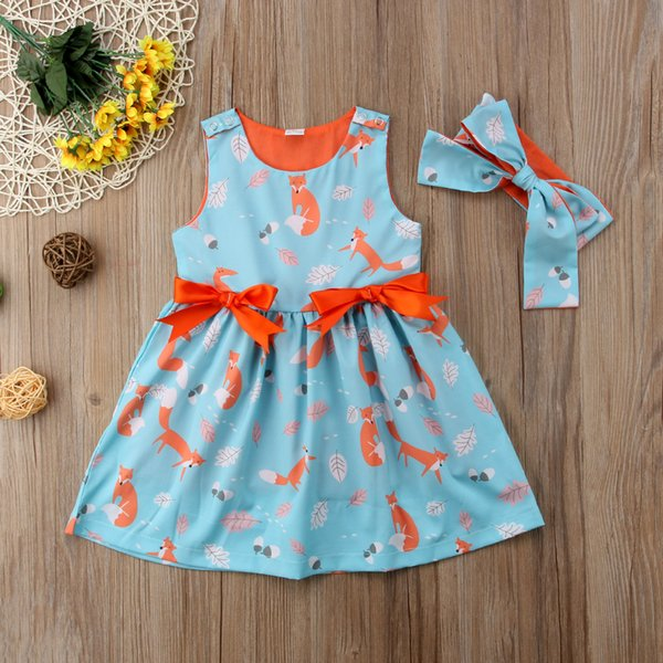 2018 animal fox kids girls orange blueprincess dresses sleeveless bowknot tutu dresses baby girl clothes 12M-6Y high quality summer products