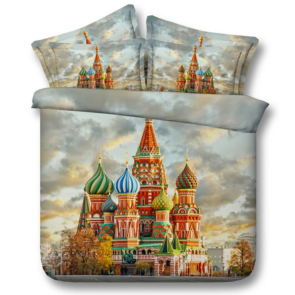3D Castle Duvet Cover sets colorful bedding sets queen scenery Bedspreads Holiday Quilt Covers Bed Linen Pillow Covers bedspreads for teens