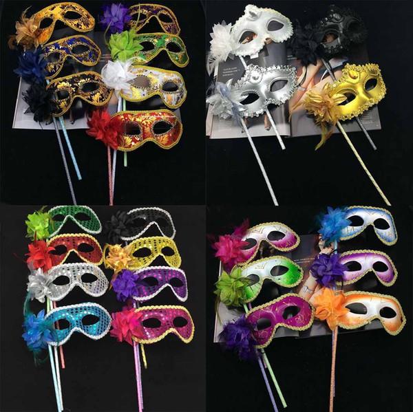 Handheld Máscara de Olho Mulheres Menina Lantejoula Máscaras Venetian Masquerade Mask On Stick Halloween Dance Party Supplies