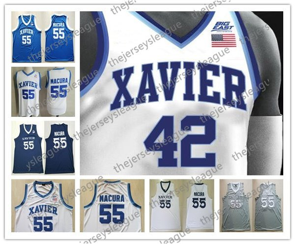 Custom Xavier Musketeers Any Name Any Number White Blue Black Gray Stitched #5 Trevon Bluiett Goodin NCAA College Basketball Jerseys