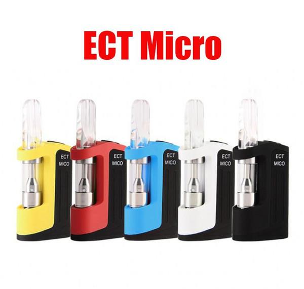 100% Orijinal ECT Mico Başlangıç Kiti 350 mAh Pil Buharlaştırıcı Vape Kalem VV Mod 510 Konu Için Kalın Yağ Seramik Bobin Kartuş Atomizer