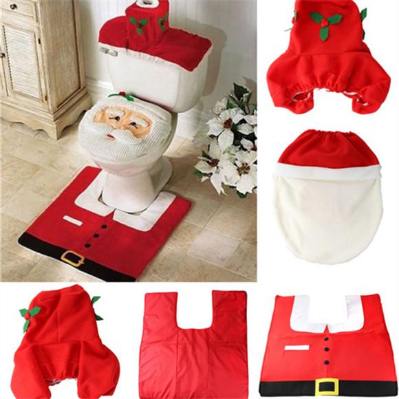 New Father Christmas Toilet Seat Cushion Bathroom creative layout supplies Three piece suit Christmas decorations IA224