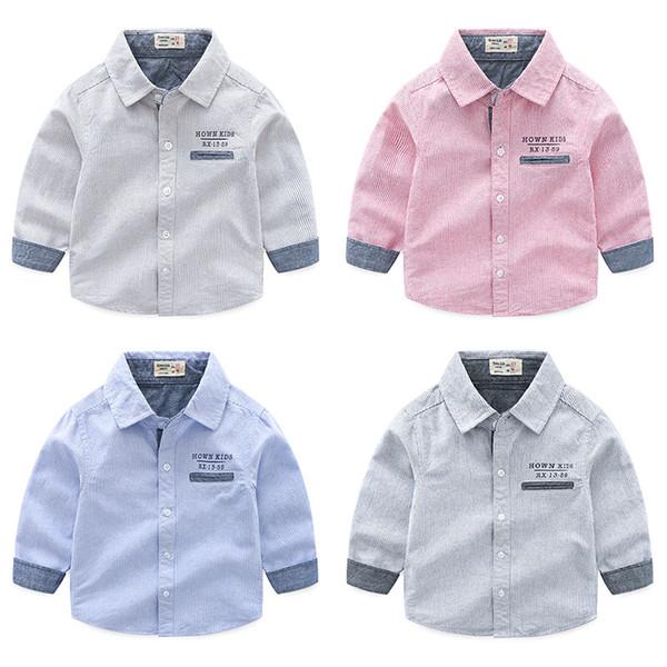 Boutique boys shirts pure cotton striped English letter printed kids clothing wholesale cheap China 90-100-110-120-130 5pcs/lot