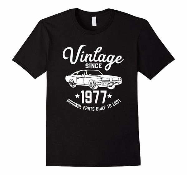 Cartoon Col ras du cou court 41ème anniversaire 1977 Voiture classique American Muscle Men Tshirt Court Homme Crew Neck Fashion 2018 Tees