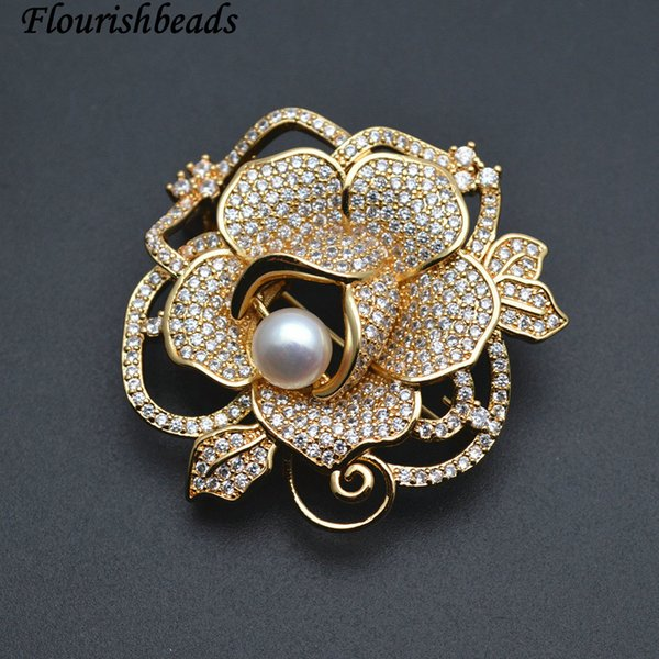 Gold Color Electroplating Natural White Pearl Big Flower Shape Paved CZ Beads MetalBrooches Fashion Jewelry Metal Pins