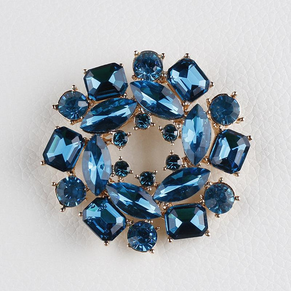 Wholesale- High Quality Blue Glass Crystal Bauhinia Flower Brooch Pins for Sweater