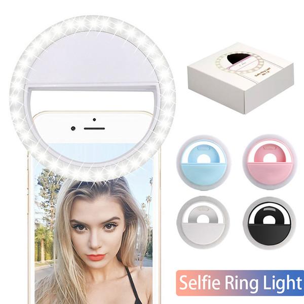 Luz led selfie para iphone xr xs 8 7 anel de luz da lâmpada do flash selfie anel de luz da câmera de fotografia para samsung em caixa