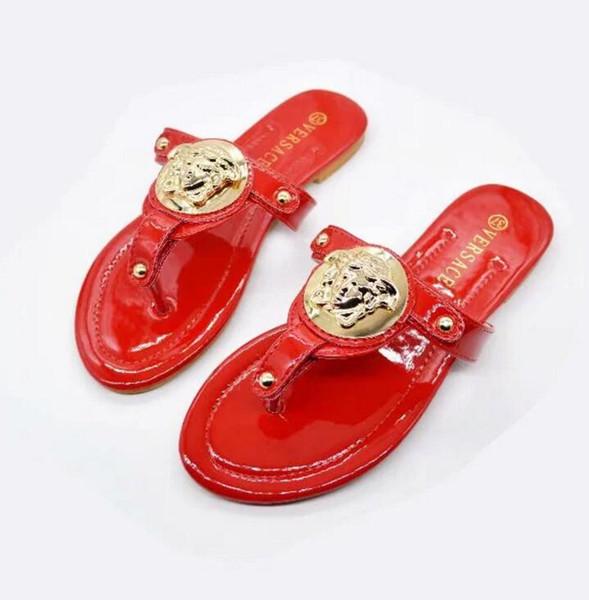 2018 Новый роскошный бренд Модный дизайнер Подлинная кожаные сандалии  Наружные пляжные модные женские леди Женская обувь 39b089c025e36