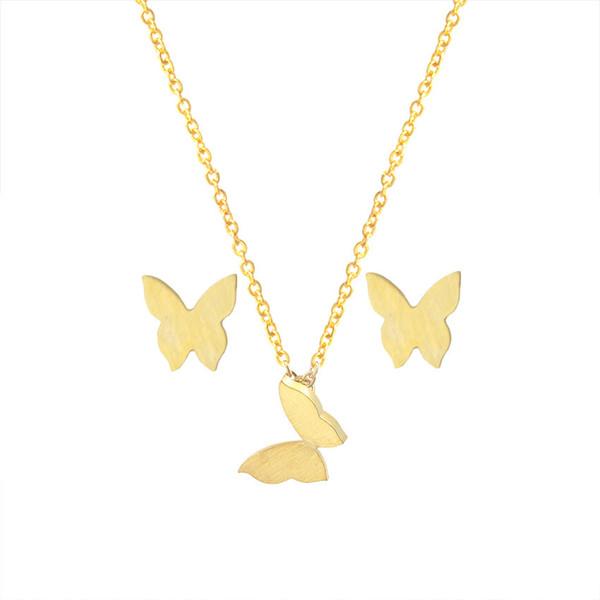 Изысканные позолоченные бабочка серьги-гвоздики кулон ожерелье женщины свадебные ювелирные наборы из нержавеющей стали животных свадебные украшения
