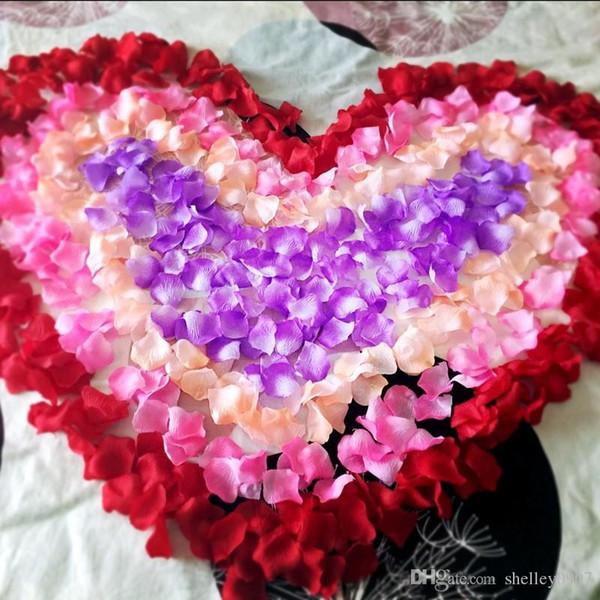 16 colores, 100 piezas decorativas, pétalos de flores artificiales de rosa, decoración de la fiesta de bodas, tela de seda en varios colores