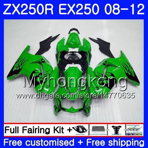 Cuerpo para KAWASAKI NINJA ZX-250R ZX250 R ZX 250R 08 09 10 11 12 201HM.7 EX 250 Llamas negras ZX250R EX250 2008 2009 2010 2011 2012