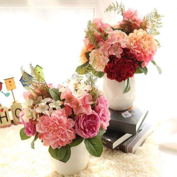 Main Artificielle Mariée Mariage Bouquet De Demoiselle D'honneur Artificielle Pivoine Dahlia Fleurs Fausse Feuille Bouquet De Soie Fleurs