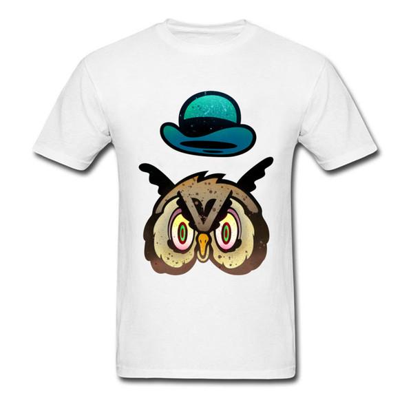 Hat Owl Howl 2018 Funny Mens White Tshirt Top Quality Cotton Fitness Adult Tee Shirt Vintage Cartoon Print Man T Shirt