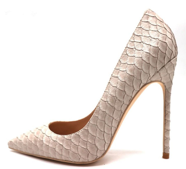 Free shipping real photo luxura genuine leather fashion real pic discount brand New beige python snake pointed toe High heels pumps shoes
