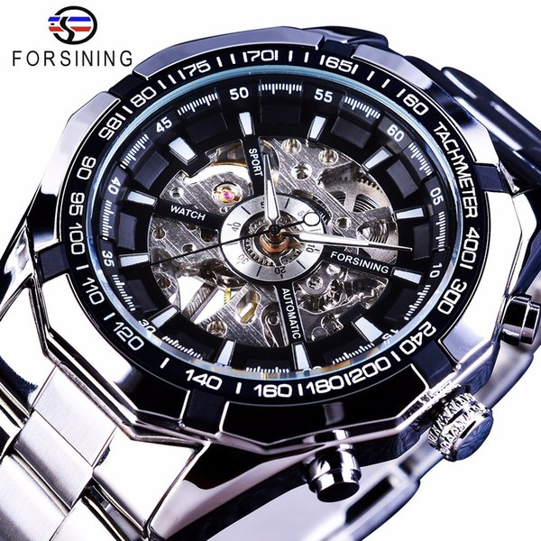 Forsining 2017 Silver Stainless Steel Waterproof Mens Skeleton Watches Top Brand Luxury Transparent Mechanical Male Wrist Watch Y1892111