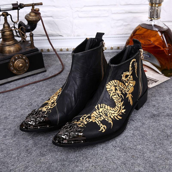 2018 Super Cool boots men Ankle Boots Fashion Embroidery Man's Leather shoes Fashion Designer's Boots for Man big size EU38-12
