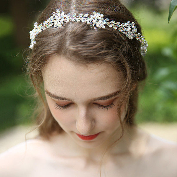Silver Color Crystal Wedding Hair Jewelry Vine Floral Headpiece For Women Prom Bridal Headband Hair Ornament