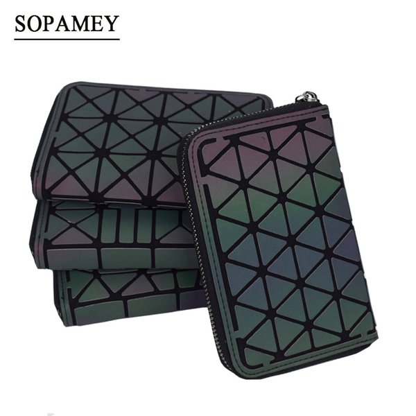New Women Short Wallet Geometric Luminous Wallet Female Min Clutch Bags Standard Purse Card Holder Noctilucent purse