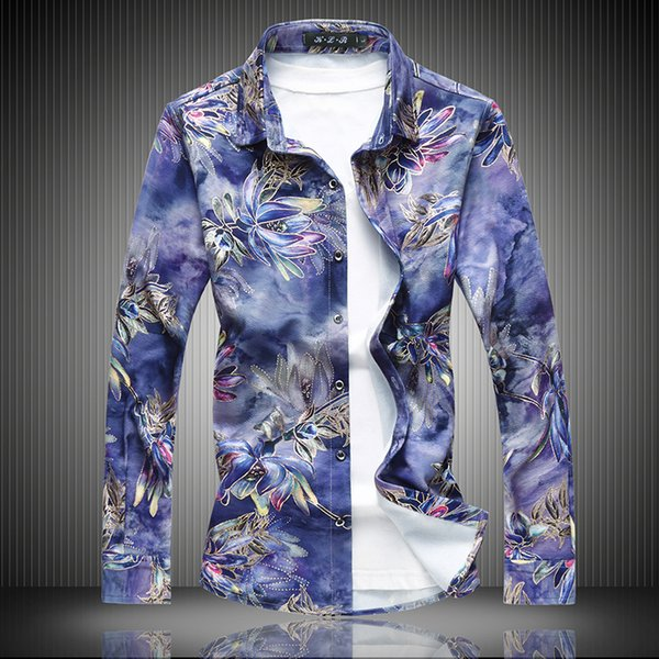Oversized 7XL 6XL Men's Casual Shirts Blue Red 2018 New Fashion Men Long Sleeve Cotton Design Men Flowers Shirts 9091