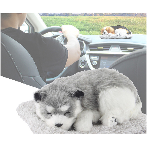Car Ornaments Cute Simulation Sleeping Dog Puppy Cat Decoration Automobiles Lovely Plush Kittens Doll Children Gifts Accessories