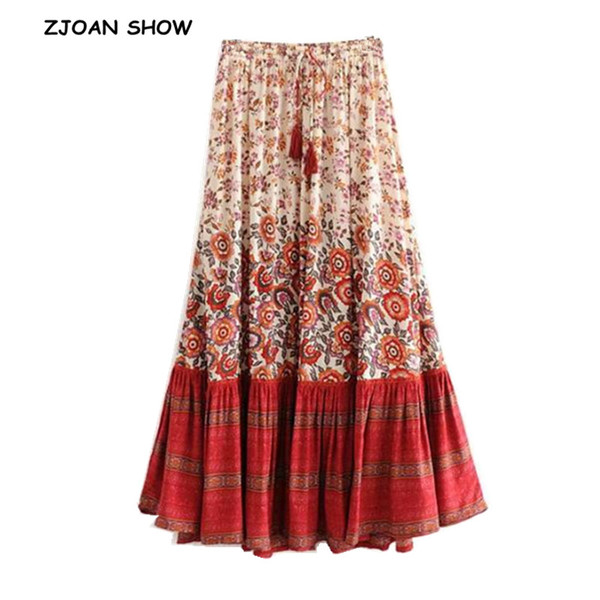 36124c04b1 Bohemian Stream Location Floral Print Long Skirt Ruffles Hem Holiday Women  Hollow Out Lacing up Stream Waist Swing Skirts Beach