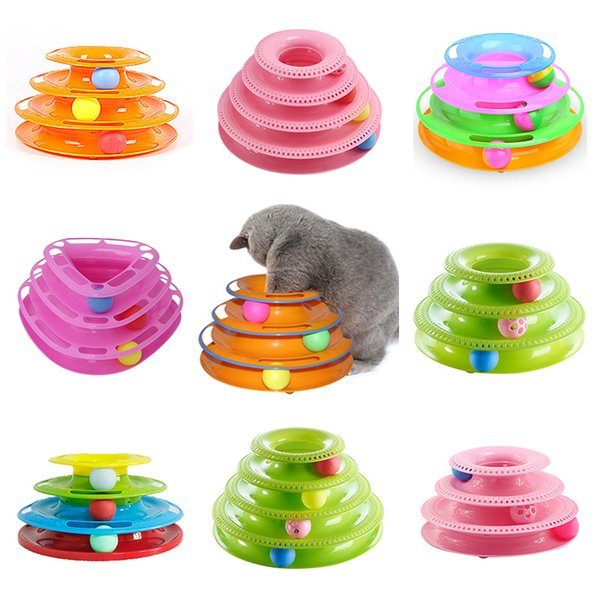 Funny Pet Toys Cat Crazy Ball Disk Interactive Amusement Plate Play Disc Trilaminar Turntable Cat Dog Toy
