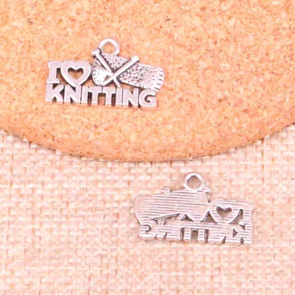 92 adet Antik gümüş I love örgü Charms Kolye Fit Bilezikler Kolye DIY Metal Takı Yapımı 20 * 12mm
