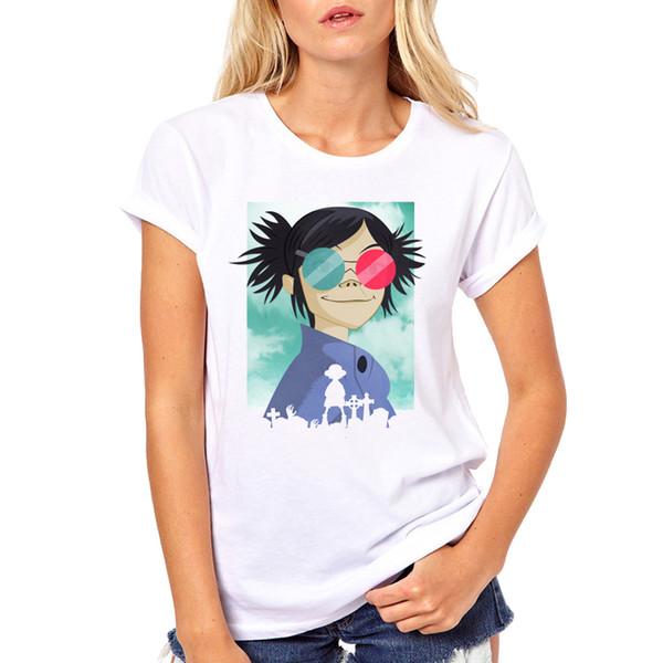 T das mulheres Rock Band Macarrão Chakakhan Murdoc Russel Gorillaz Manga Curta Camisas Das Mulheres T Moda Ringer Streetwear T Shirt roupas