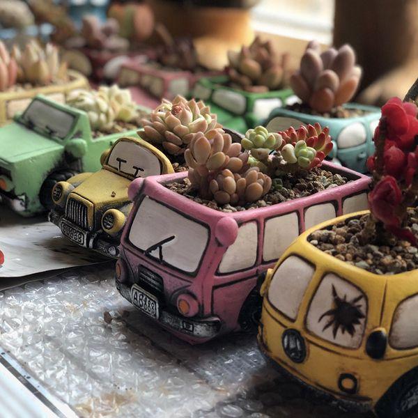 Plantas maceta Zakka Retro Cartoon Vintage Car Truck jarrón de cerámica Pot Home Office Decoration Mini jardineros 505