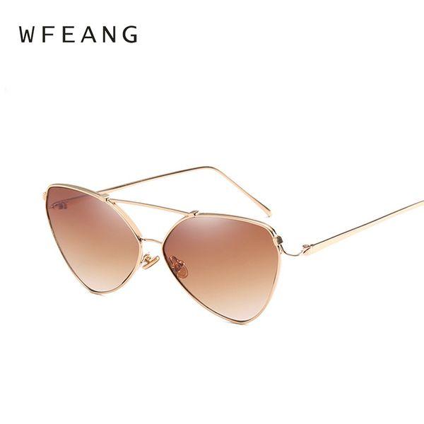 03f4789bc5b WFEANG Vintage Mirror Pink Sunglasses Cat Eye Vintage Brand Designer Women  Sunglasses Female Shades Lady Sun