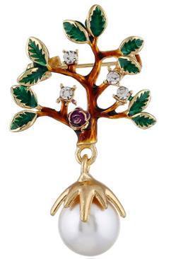 Stile della decorazione del vestito dalla perla di stile europeo ed americano originale di personalità piccola spilla dell'albero dell'alta società che gocciola l'olio stile caldo di Pin