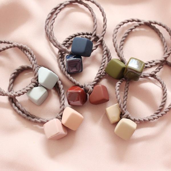 New Pattern Korean Matting Rubber Color Hair Rope Lovely Block Hair Circle Headrope Tie Hair Elastic Decorate Woman