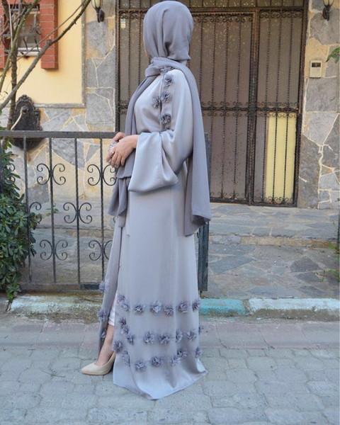 best selling New Muslim Women Floral Open Abaya Wholesale Factory Price Islamic Women Long Sleeve Maxi Dress S-2XL